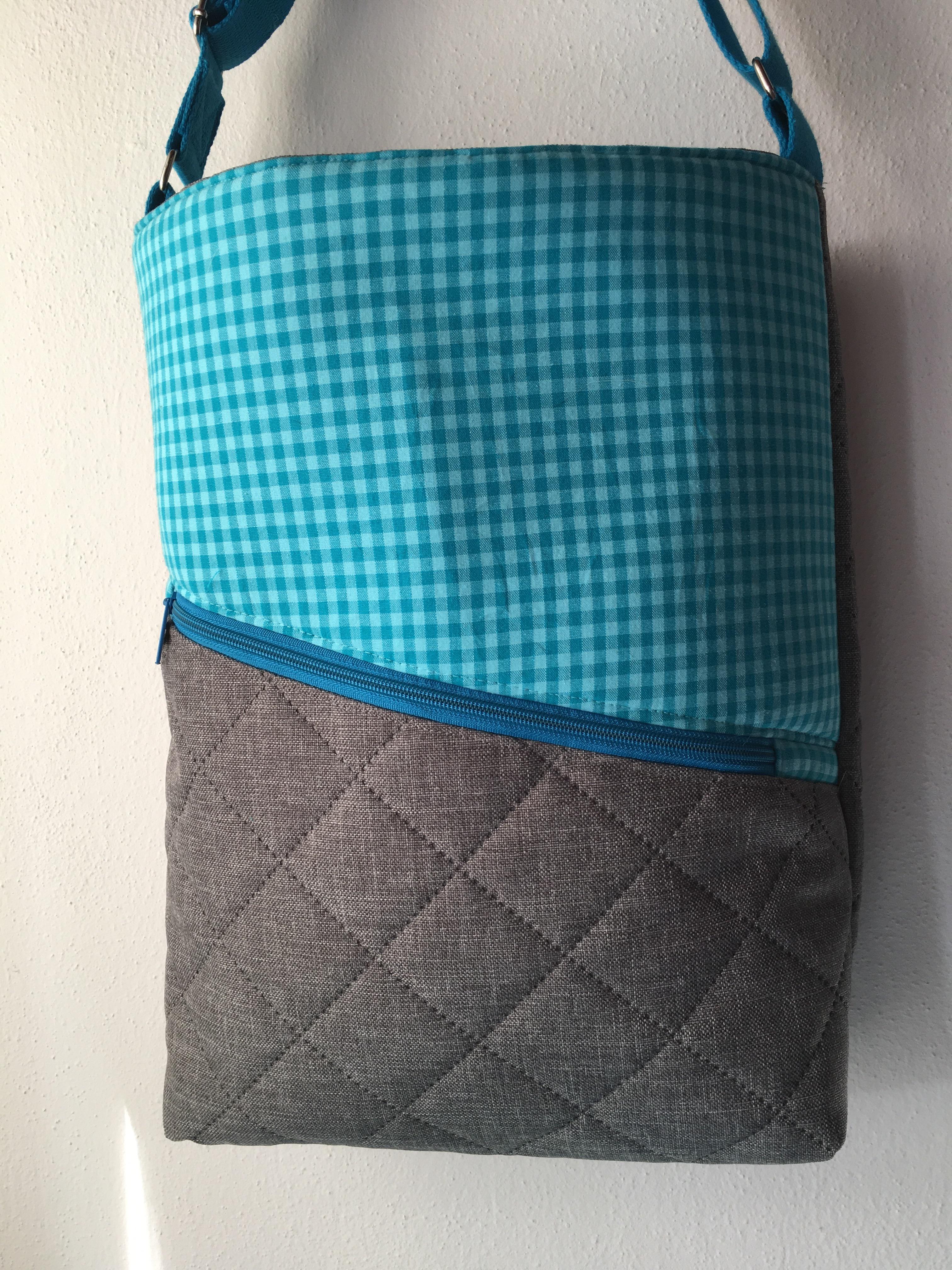 einkaufstasche mia blau grau n hen stricken diy. Black Bedroom Furniture Sets. Home Design Ideas