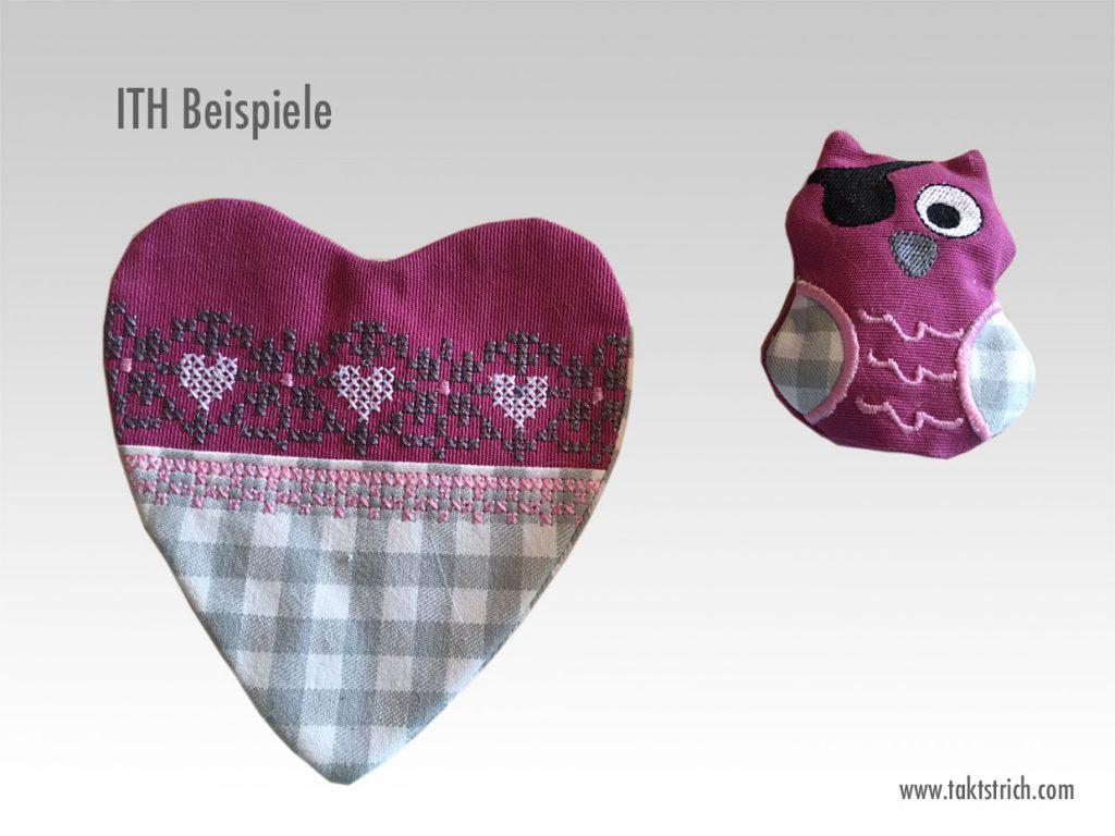 ITH -Sticken Eule und Herz in rosa
