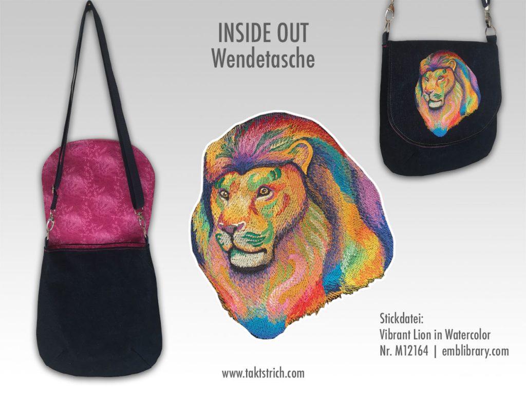 Lion Inside Out Wendetasche mit Löwen-Stickerei