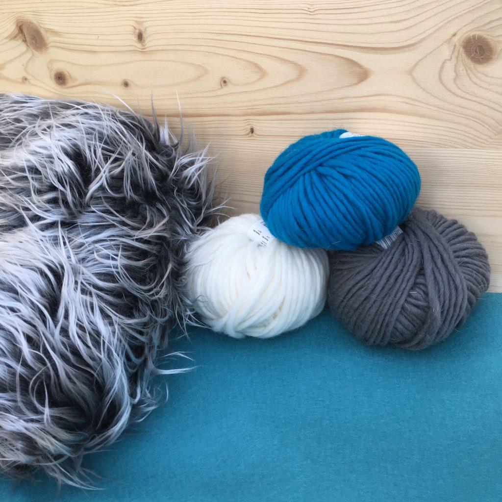 Material: melierter Langhaar-Floor, Filzwolle, Filz